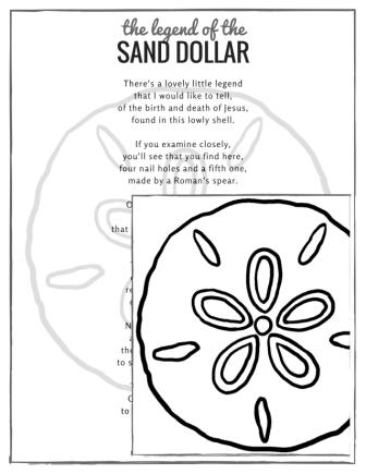 photograph relating to Legend of the Sand Dollar Poem Printable identified as Sand Greenback Information and facts and Legends. Mermaid Cash? Spiritual Logo?