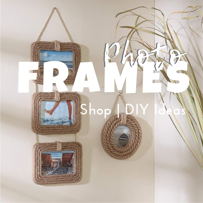 Beach And Coastal Photo Frames Diy Shell And Rope Frames